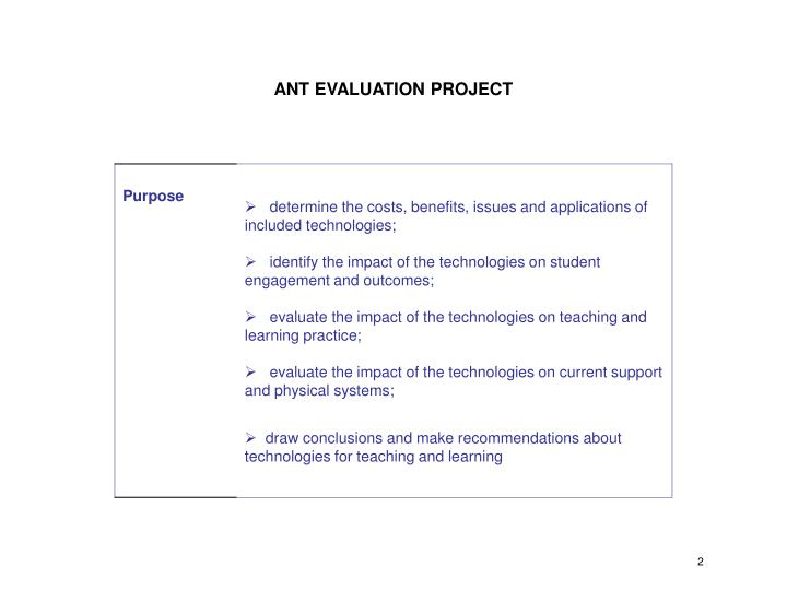 ANT EVALUATION PROJECT