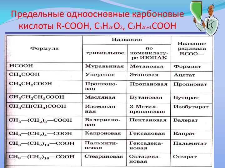 Предельные одноосновные карбоновые кислоты