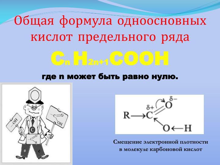 Общая формула одноосновных кислот предельного ряда