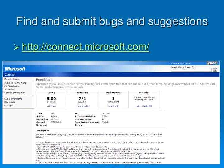 Find and submit bugs and suggestions