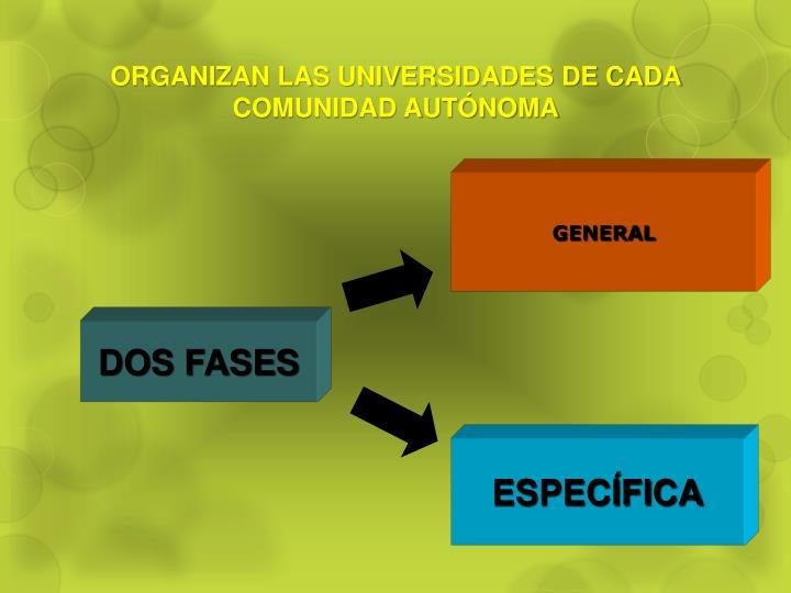 ORGANIZAN LAS UNIVERSIDADES DE CADA COMUNIDAD AUTÓNOMA