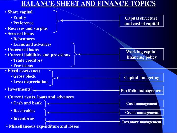 BALANCE SHEET AND FINANCE TOPICS