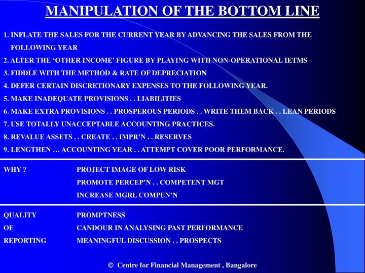 MANIPULATION OF THE BOTTOM LINE