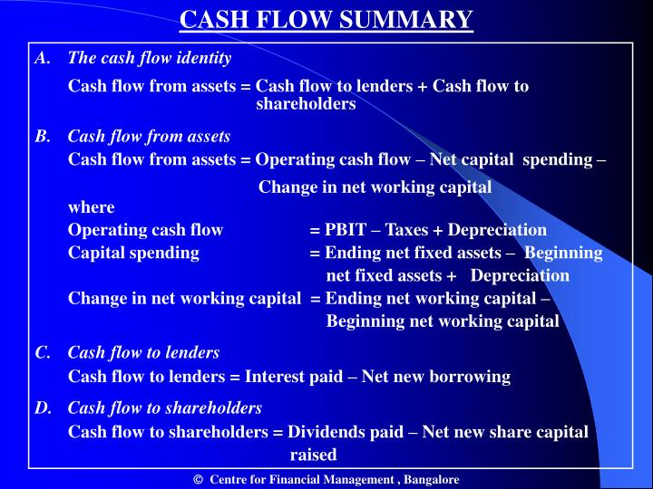 CASH FLOW SUMMARY