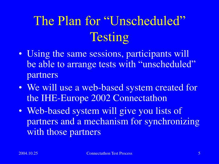 "The Plan for ""Unscheduled"" Testing"