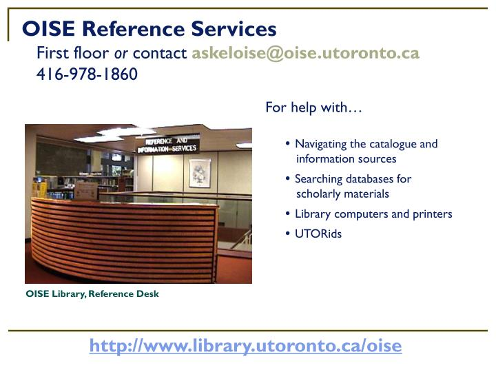 OISE Reference Services
