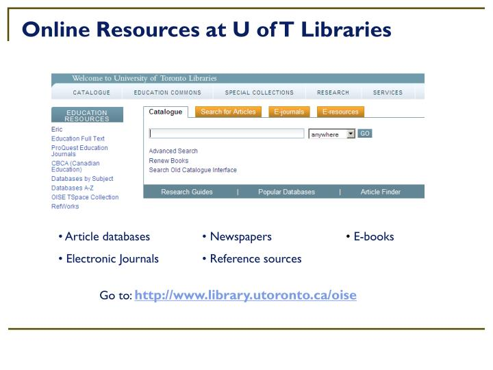 Online Resources at U of T Libraries