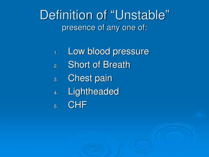 """Definition of """"Unstable"""""""