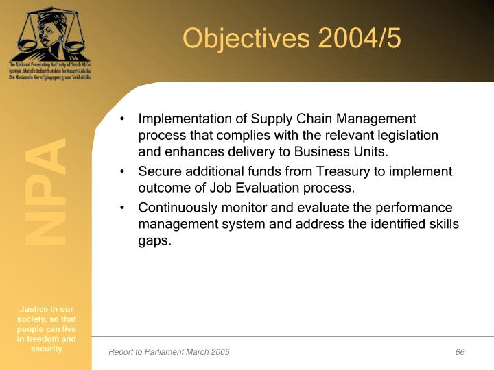 Objectives 2004/5