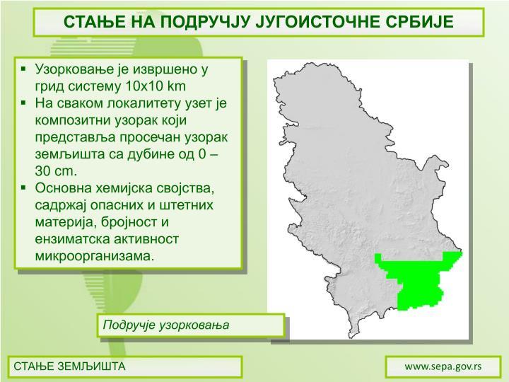 СТАЊЕ НА ПОДРУЧЈУ ЈУГОИСТОЧНЕ СРБИЈЕ