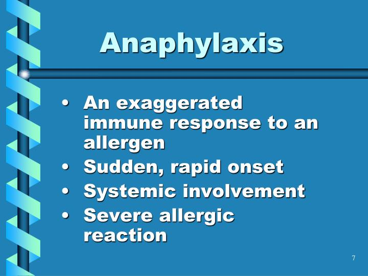 An exaggerated immune response to an allergen