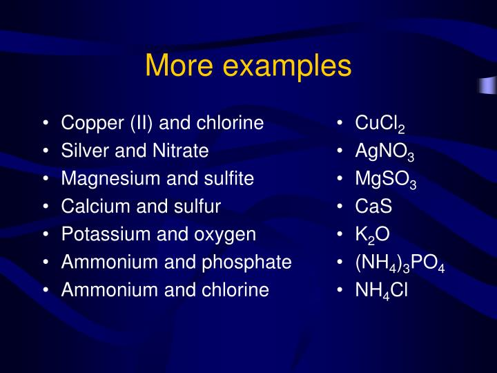 Copper (II) and chlorine