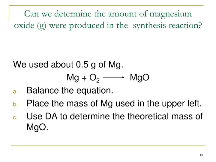finding the formula of magnesium oxide lab report Empirical formula lab an empirical formula gives the simplest whole number ratio of the different atoms in a compound  write the formula for magnesium oxide.