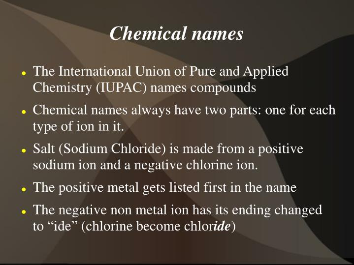 Chemical names