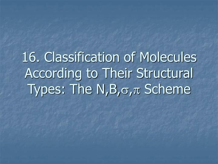 16. Classification of Molecules According to Their Structural Types: The N,B,