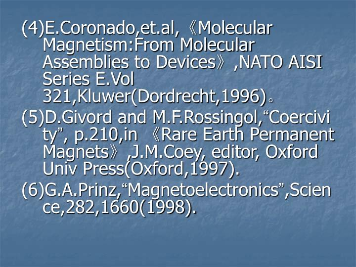 (4)E.Coronado,et.al,《Molecular Magnetism:From Molecular Assemblies to Devices》,NATO AISI Series E.Vol 321,Kluwer(Dordrecht,1996)