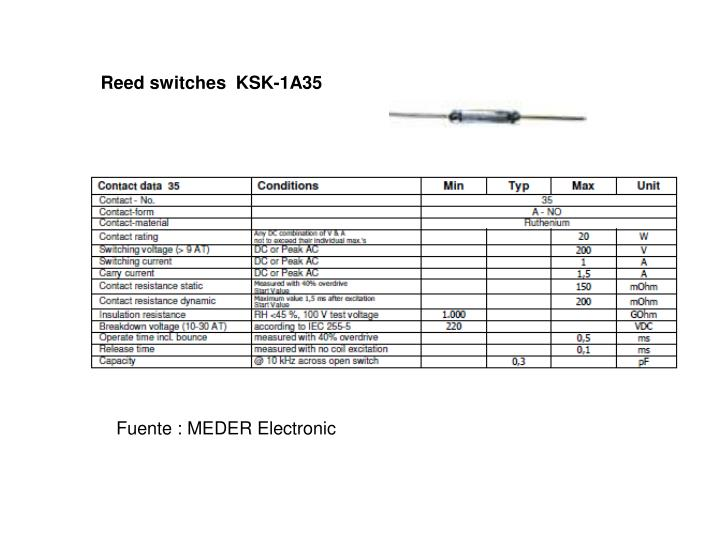 Reed switches  KSK-1A35