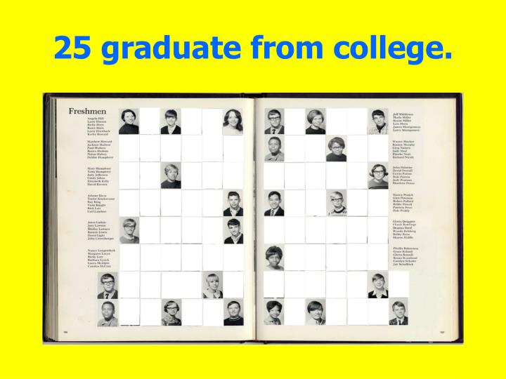 25 graduate from college.