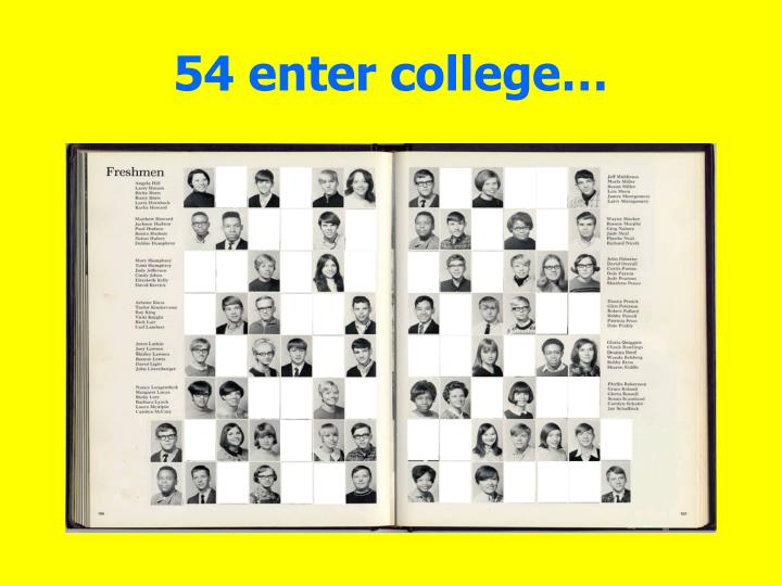 54 enter college…