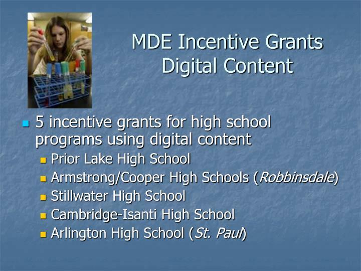 MDE Incentive Grants Digital Content