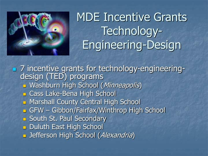 MDE Incentive Grants