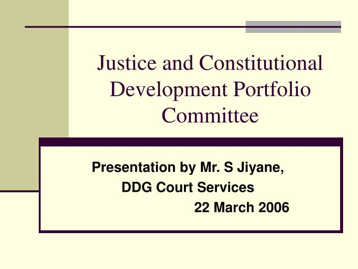 justice and constitutional development portfolio committee n.