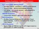 building regulation compliance summary