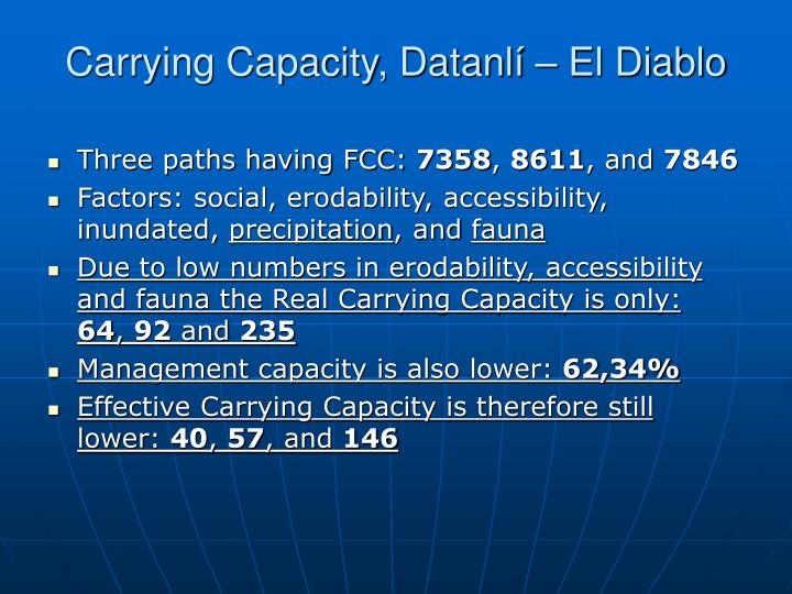 Carrying Capacity, Datanlí – El Diablo
