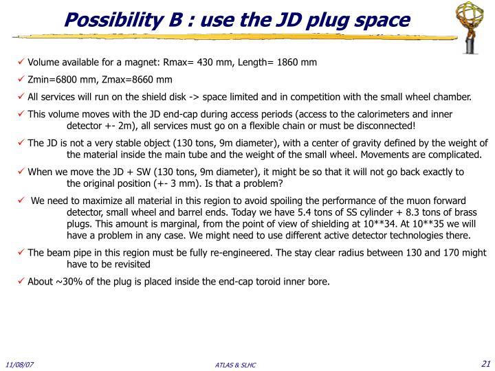 Possibility B : use the JD plug space