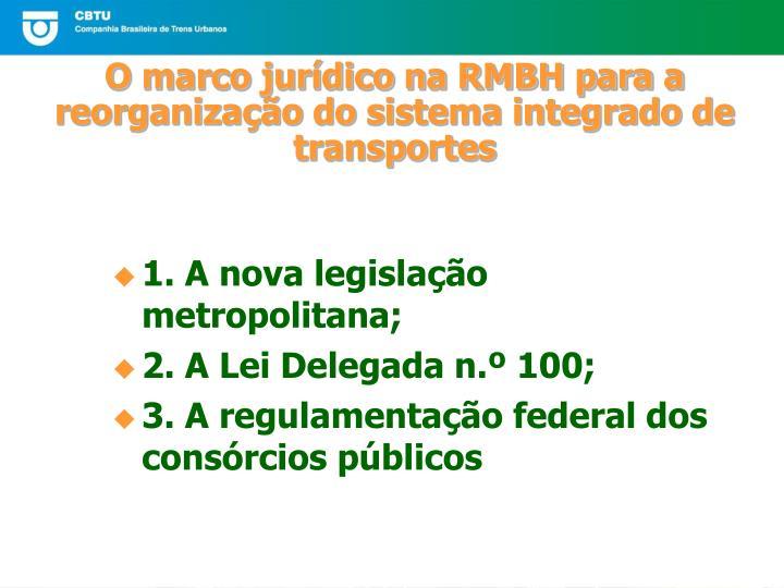O marco jur dico na rmbh para a reorganiza o do sistema integrado de transportes