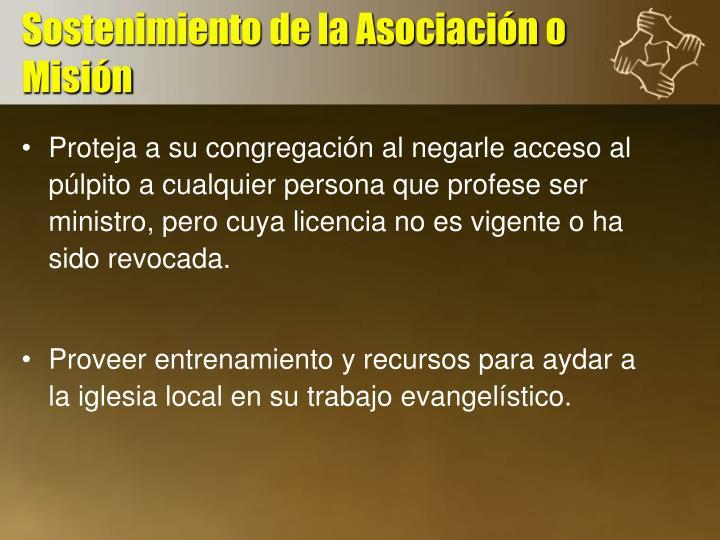 Sostenimiento de la Asociación o Misión