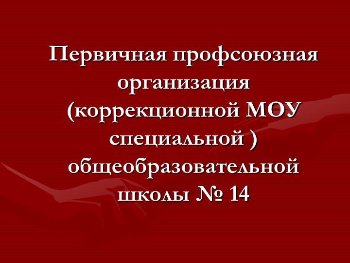 Первичная профсоюзная организация (коррекционной МОУ ...