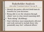 stakeholder analysis also called constituent analysis see pg 86