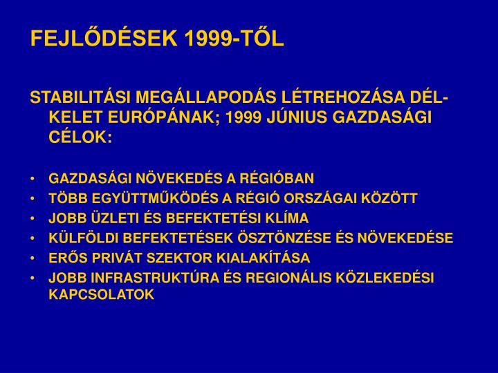 FEJLŐDÉSEK 1999-TŐL