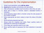 g uidelines for the implementation