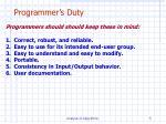 programmer s duty