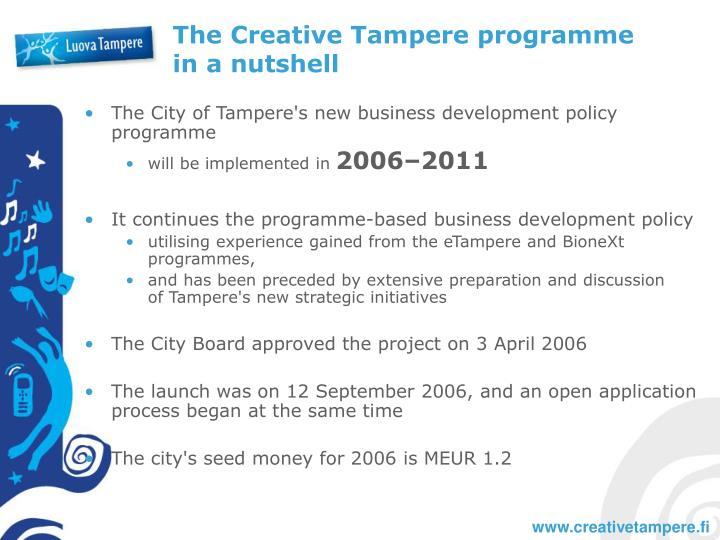 The creative tampere programme in a nutshell