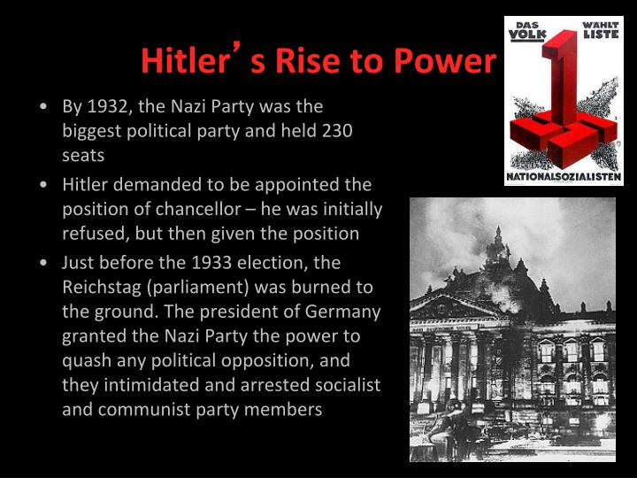 a history of hitlers rise to power How did hitler rise to power - alex gendler and anthony hazard  in human history, could ever have risen to power in a  in hitler's political rise to power.