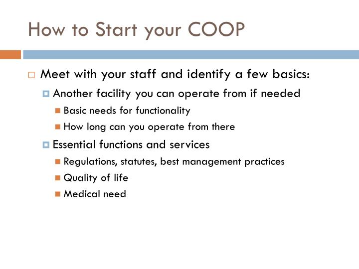 How to Start your COOP
