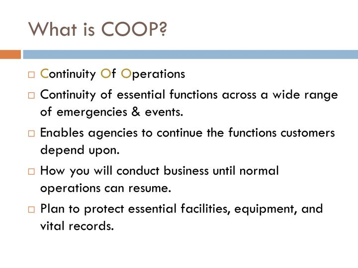 What is coop