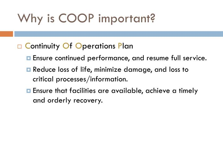 Why is coop important