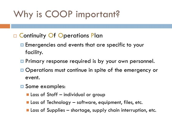 Why is COOP important?