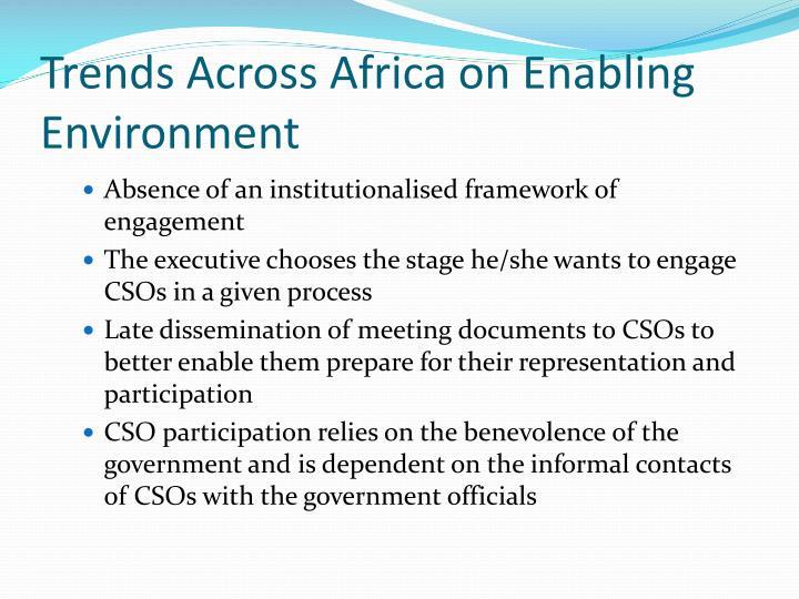 Trends Across Africa on Enabling Environment