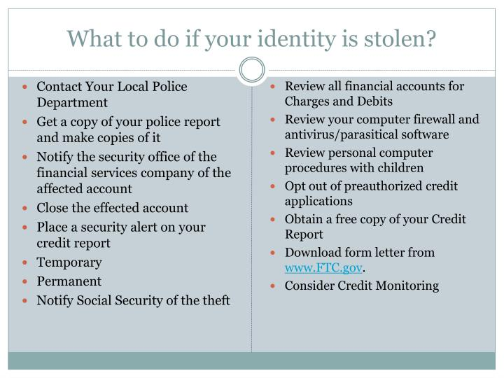 What to do if your identity is stolen?