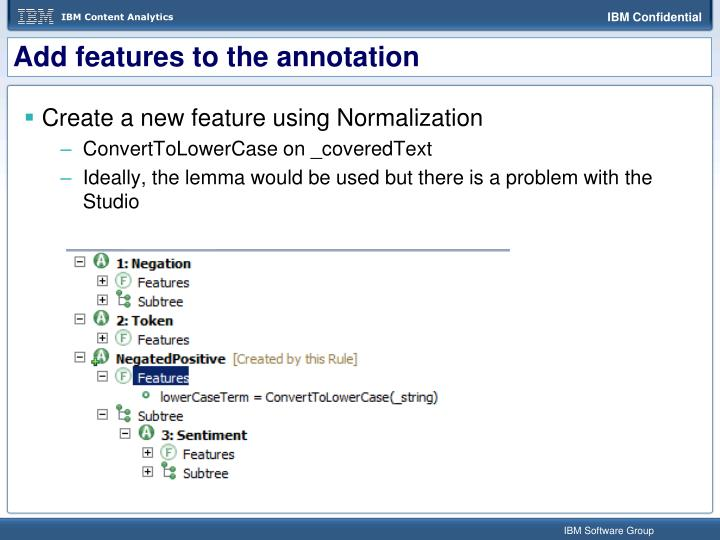 Add features to the annotation