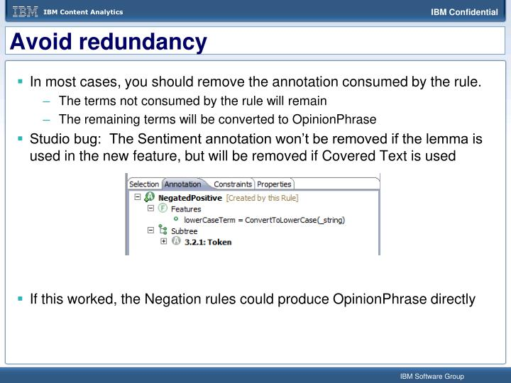 Avoid redundancy