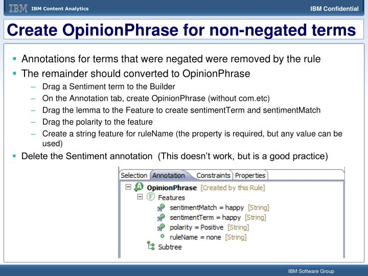 Create OpinionPhrase for non-negated terms