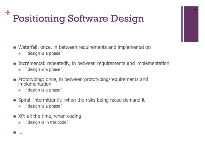 Positioning Software Design