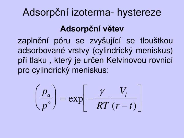 Adsorpční izoterma- hystereze
