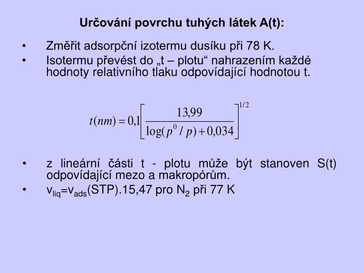 Určování povrchu tuhých látek A(t):